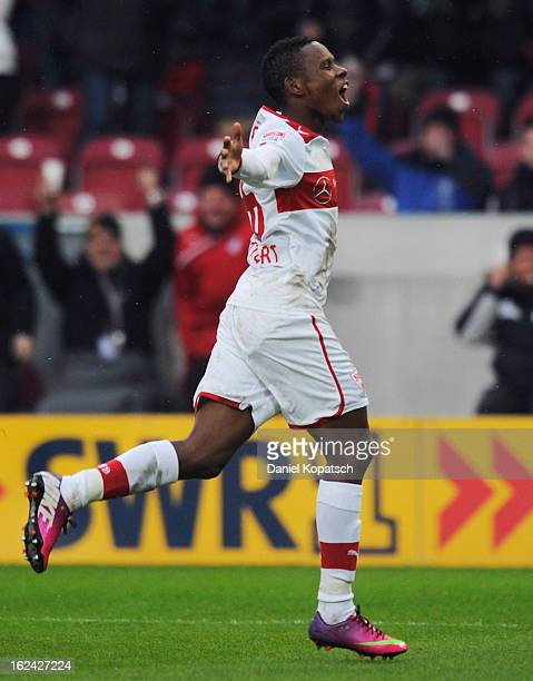 Ibrahima Traore of Stuttgart celebrates his team's first goal during the Bundesliga match between VfB Stuttgart and 1 FC Nuernberg at MercedesBenz...