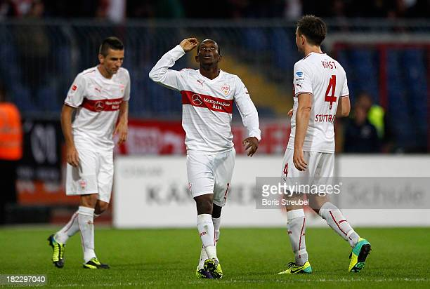 Ibrahima Traore of Stuttgart celebrates his team's third goal during the Bundesliga match between Eintracht Braunschweig and VfB Stuttgart at...