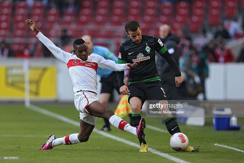 Ibrahima Traore (L) of Stuttgart fights for the ball with Lukas Schmitz (R) of Bremen during the Bundesliga match between VfB Stuttgart and Werder Bremen at Mercedes-Benz Arena on February 9, 2013 in Stuttgart, Germany.