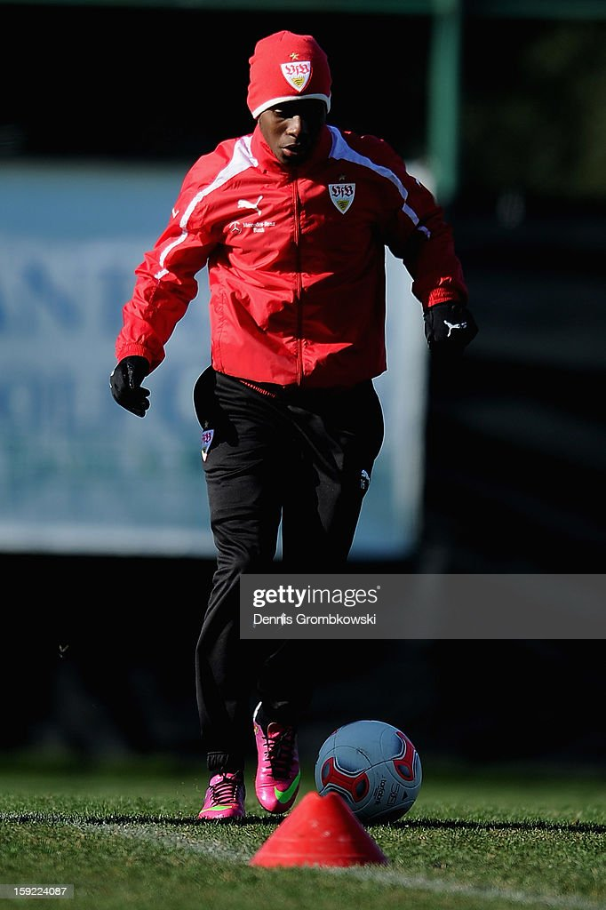 <a gi-track='captionPersonalityLinkClicked' href=/galleries/search?phrase=Ibrahima+Traore&family=editorial&specificpeople=4380349 ng-click='$event.stopPropagation()'>Ibrahima Traore</a> of Stuttgart practices during a training session at day seven of the Vfb Stuttgart Training Camp on January 10, 2013 in Belek, Turkey.