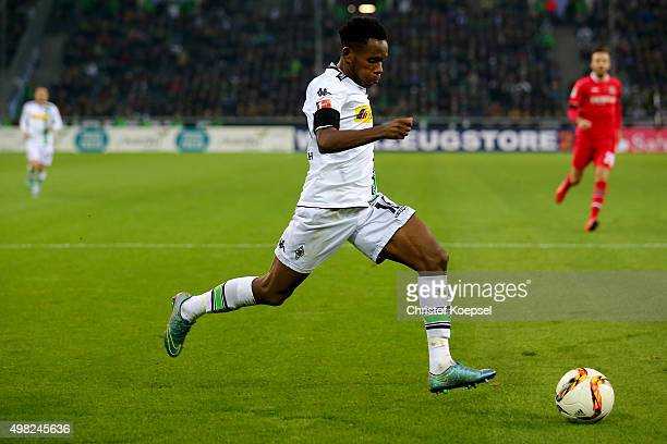 Ibrahima Traore runs with the ball during the Bundesliga match between Borussia Moenchengladbach and Hannover 96 at BorussiaPark on November 21 2015...