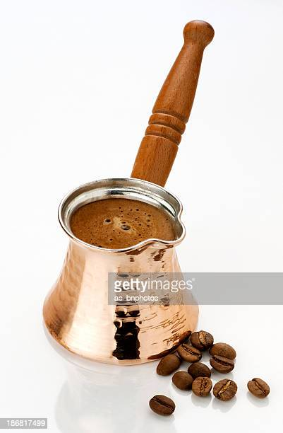 Ibrik with coffee and beans