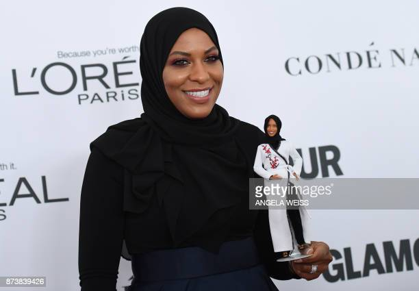 TOPSHOT Ibtihaj Muhammad attends Glamour's 2017 Women of The Year Awards at Kings Theatre on November 13 2017 in Brooklyn New York / AFP PHOTO /...