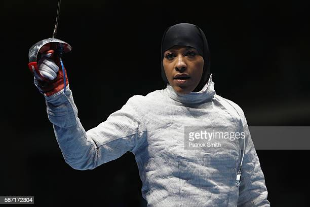 Ibtihaj Muhammad of the United States looks on during the Women's Individual Sabre on Day 3 of the Rio 2016 Olympic Games at Carioca Arena 3 on...