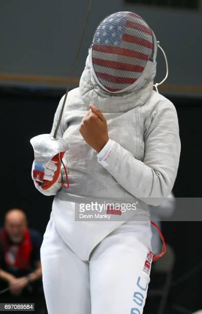Ibtihaj Muhammad of the USA celebrates making a touch during the Team Women's Sabre event on June 17 2017 at the PanAmerican Fencing Championships at...