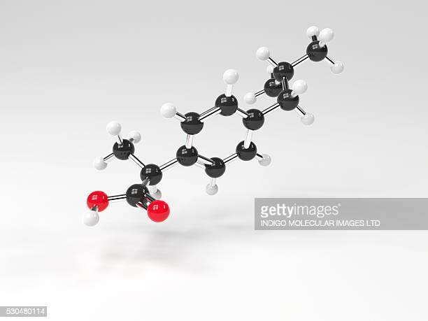 Ibuprofen molecule. Computer artwork showing the structure of a molecule of the painkilling (analgesic) drug ibuprofen. Ibuprofen is a non-steroidal anti-inflammatory drug (NSAID). It is taken as an analgesic (painkiller), and an antipyretic.