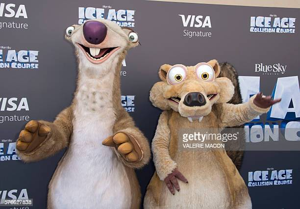 Ice Age characters Sid and Scrat arrive for the 'Ice Age Collision Course' Friends and Family Screening at Fox Studios' Zanuck Theater in Los Angeles...