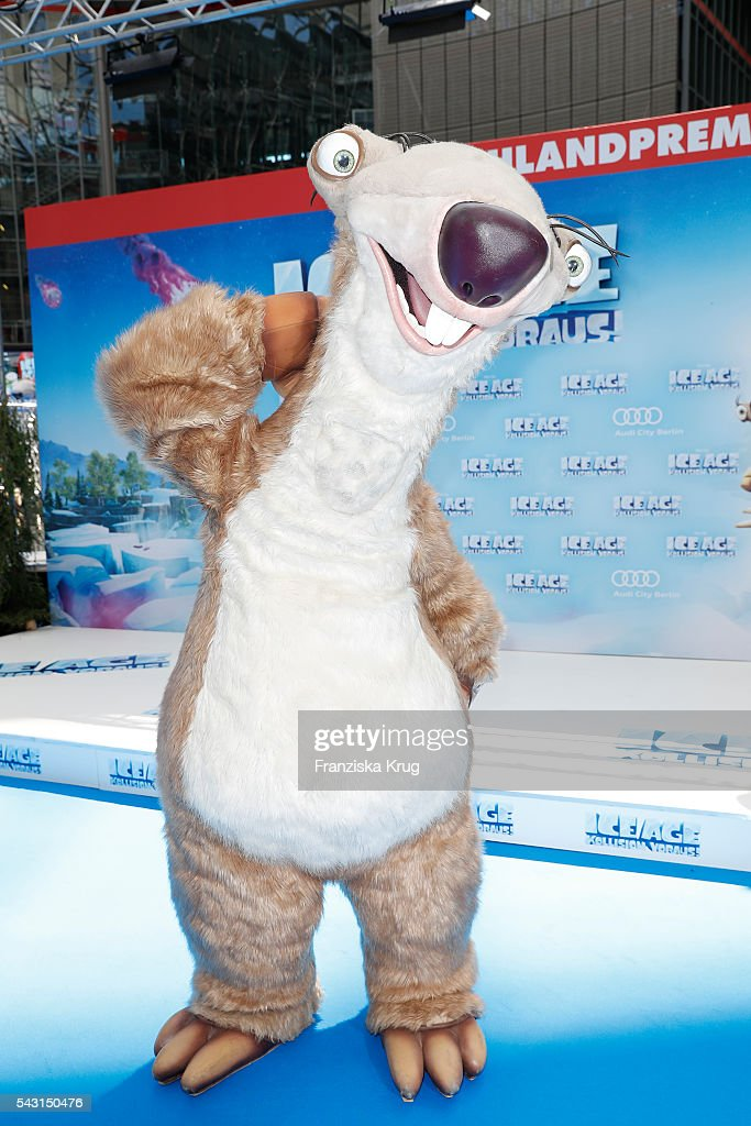 Ice Age figure Sid attends the 'Ice Age - Kollision Voraus' German Premiere at CineStar on June 26, 2016 in Berlin, Germany.