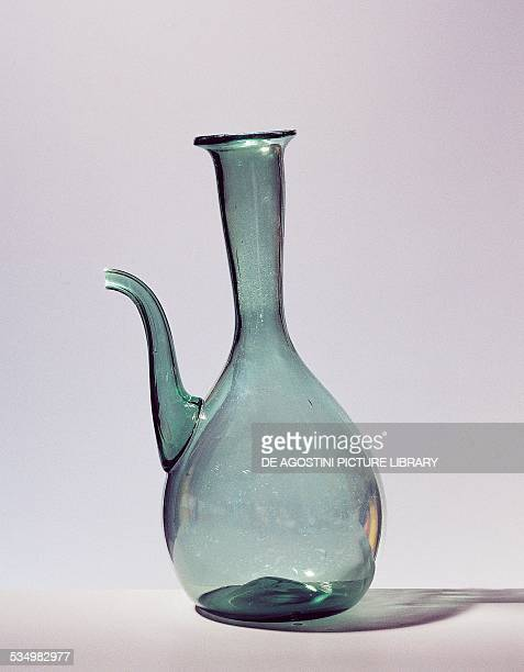 Ice ampoule handmade in green mouthblown glass 19401950 Empoli production Italy 20th century