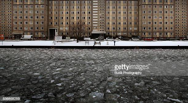 Ice blocks floating on the Spree River in winter