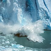 Ice breaking off a glacier