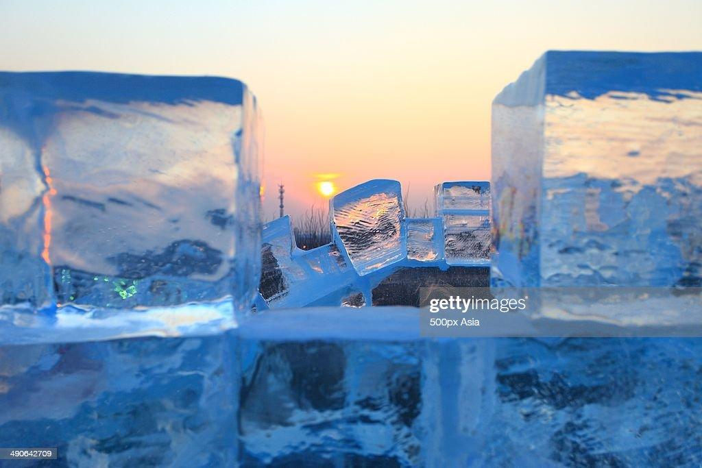 Ice bricks, sunrise,Harbin Ice and Snow Wonderland