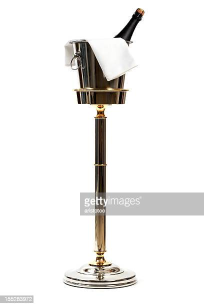 Ice Bucket Stand with Champagne, Isolated on White