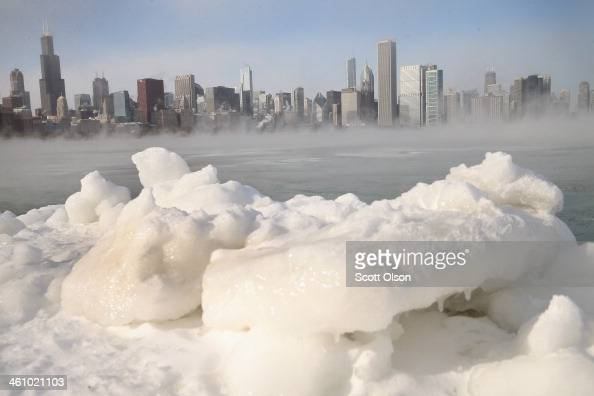 Ice builds up along Lake Michigan as temperatures dipped well below zero on January 6 2014 in Chicago Illinois Chicago hit a record low of 16 degree...