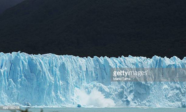 Ice calves from the Northern wall of the Perito Moreno glacier in Los Glaciares National Park part of the Southern Patagonian Ice Field on November...