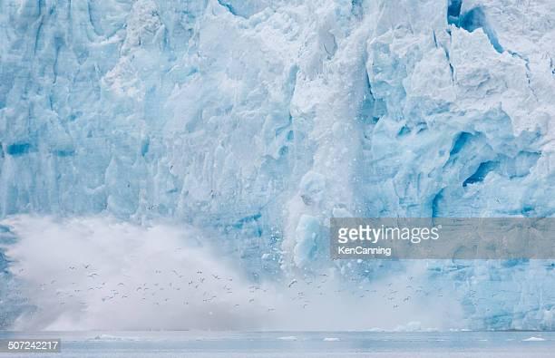 Ice Calving off Glacier Wall