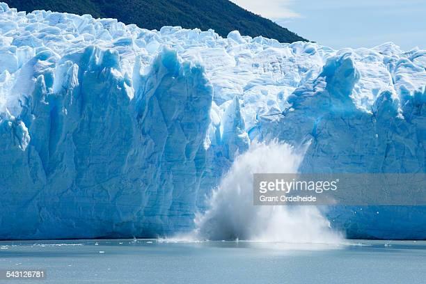 Ice calving off of the Perito Moreno glacier.