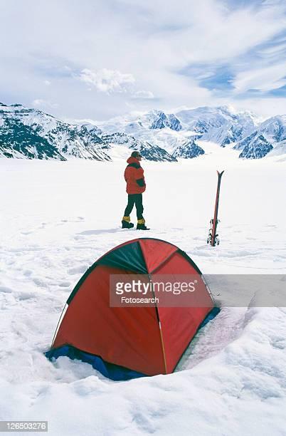 Ice camping on glacier