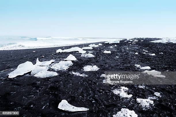 Ice chunks on the black sand Jokulsarlon lava beach,Iceland