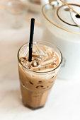 Ice coffee serve on table