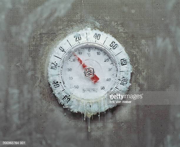 Ice covered thermometer, close-up