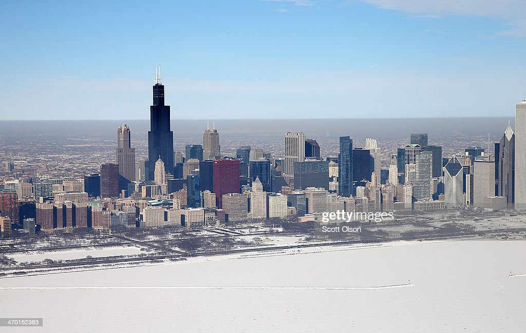 Ice covers the shoreline of Lake Michigan on February 18, 2014 in Chicago, Illinois. This winters prolonged cold weather has caused more than 88 percent of the Great Lakes to be covered in ice which is near the record of 95% set in February 1979.