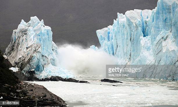 Ice cracks from the wall of the Perito Moreno Glacier located at Los Glaciares National Park southwest Santa Cruz Province Argentina on March 10 2016...