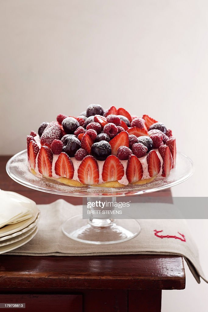 Ice Cream And Berry Cake Stock Photo | Getty Images