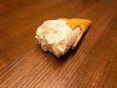 Old time fashion ice cream bites on oak table