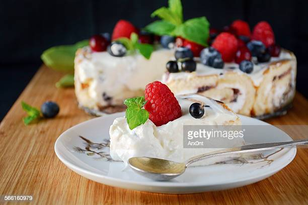 Ice cream cake with summer berries