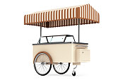Ice cream cart on a white background