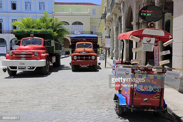 Ice cream cart and trucks