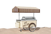 Ice Cream Cart on the Sand Sunny Beach extreme closeup on a white background. 3d Rendering