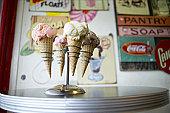Ice cream cones in holder