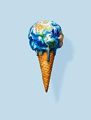 Global environment, pollution, protection, ice cream, warning,