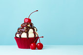 Ice cream sundae cupcake with copy space to side
