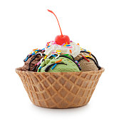 Ice cream sundae in waffle bowl isolated on white (excluding the shadow)