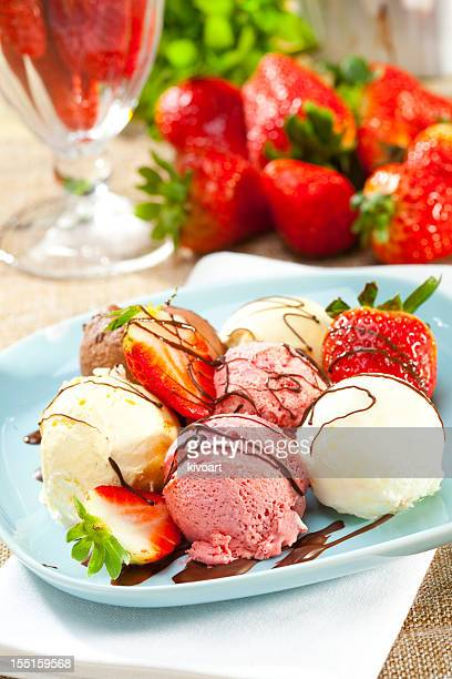 Ice Cream with strawberries and chocolate
