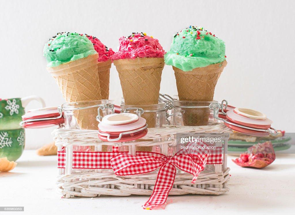 Ice creams in cones : Stock Photo