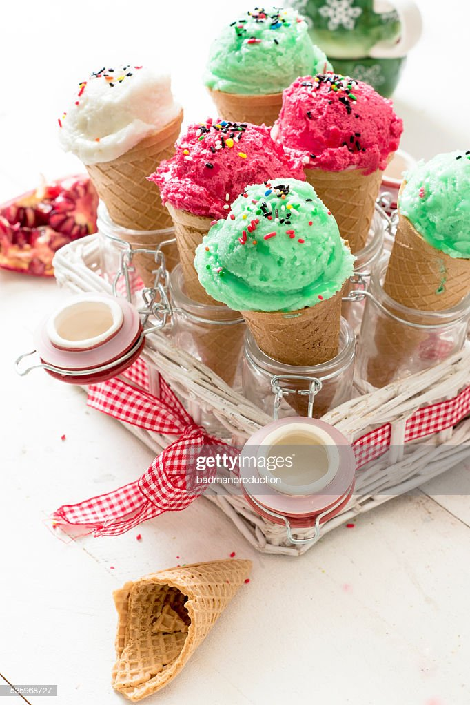 Ice creams in the basket : Stock Photo