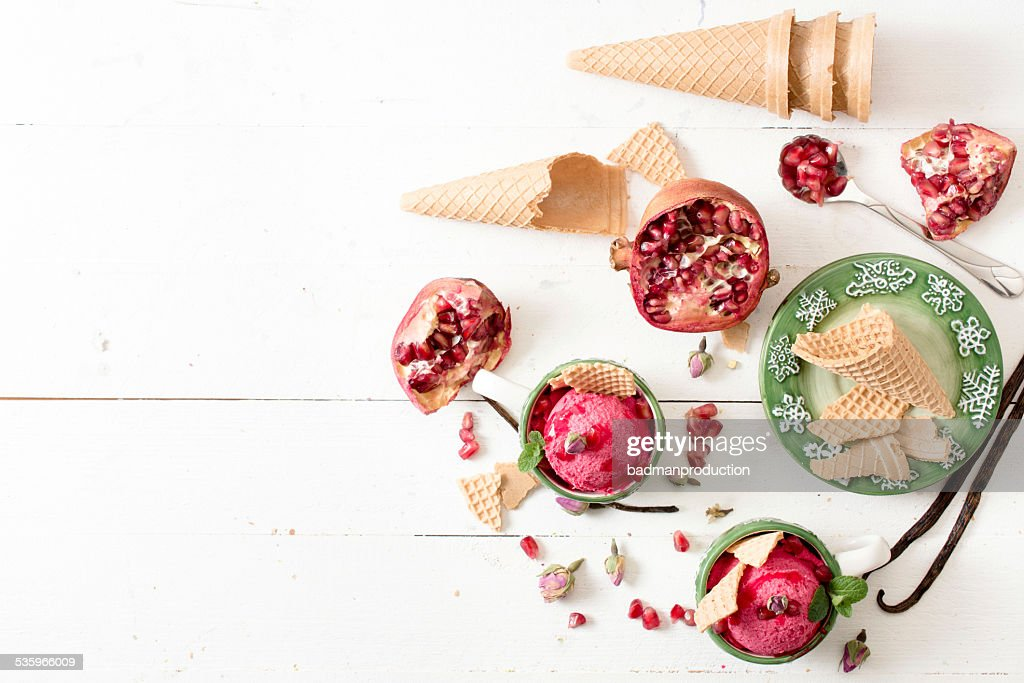 Ice creams in the cups : Stock Photo