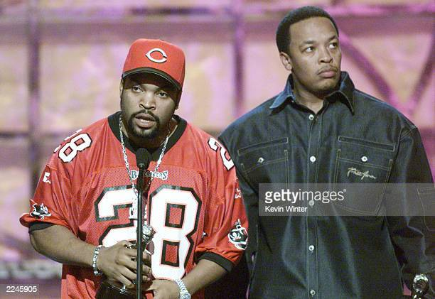 Ice Cube and Dr Dre won the Lifetime Achievement Award at 'The Source HipHop Music Awards 2000' at the Pasadena Civic Auditorium in Los Angeles Ca...