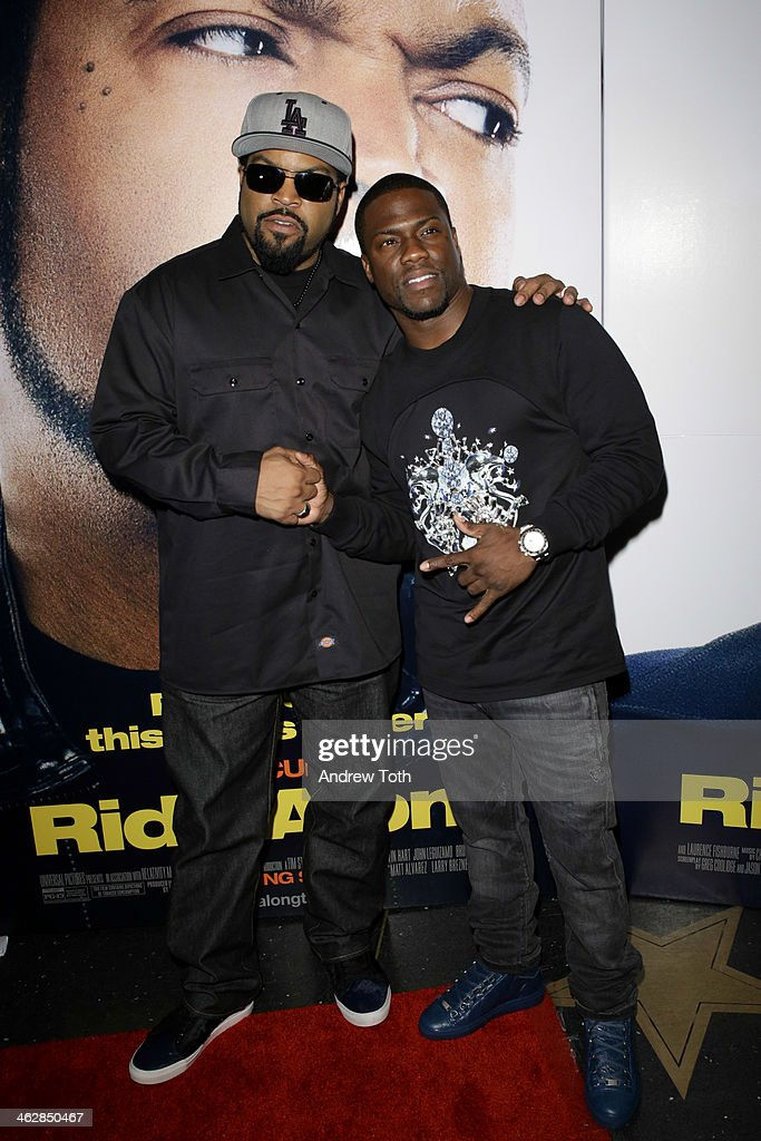 Ice Cube (L) and Kevin Hart attend the 'Ride Along' screening at AMC Loews Lincoln Square on January 15, 2014 in New York City.