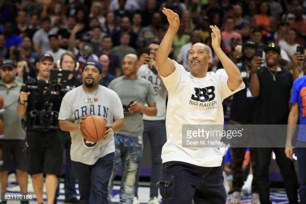 Ice Cube and Lavar Ball compete in the Four Point Challenge during week eight of the BIG3 three on three basketball league at Staples Center on...