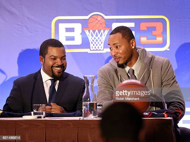 Ice Cube and Rashard Lewis attend BIG3 Press Conference on January 11 2017 in New York City