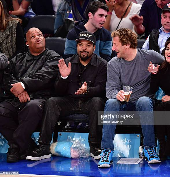 Ice Cube attends the Toronto Raptors vs New York Knicks game at Madison Square Garden on April 10 2016 in New York City