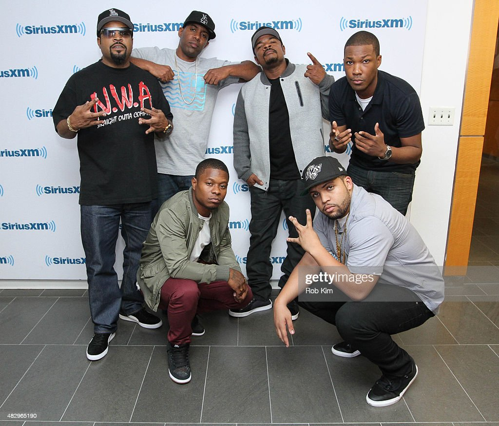 Ice Cube, DJ Whoo Kid, F. Gary Gray, Corey Hawkins, (Front row) Jason Mitchell and OÕShea Jackson Jr. visit at SiriusXM Studios on August 4, 2015 in New York City.