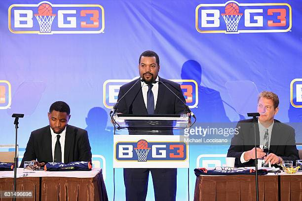 Ice Cube speaks during a press conference announcing the launch of the BIG3 a new professional 3on3 basketball league on January 11 2017 in New York...