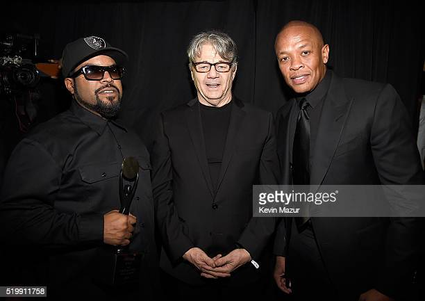 Ice Cube Steve Miller and Dr Dre attend 31st Annual Rock And Roll Hall Of Fame Induction Ceremony at Barclays Center of Brooklyn on April 8 2016 in...
