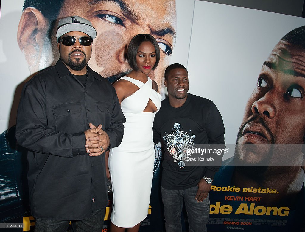 Ice Cube, <a gi-track='captionPersonalityLinkClicked' href=/galleries/search?phrase=Tika+Sumpter&family=editorial&specificpeople=4168370 ng-click='$event.stopPropagation()'>Tika Sumpter</a> and Kevin Hart attend the 'Ride Along' screening at AMC Loews Lincoln Square on January 15, 2014 in New York City.